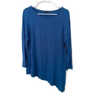 Eileen Fisher Womens Asymmetrical Top Large Teal